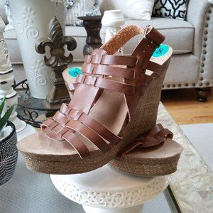 "NEW! BOHO Wedge ""Sangria"" SANDALS By MIA SZ 8"